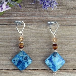 Blue Lace Agate & Swarovski Stainless Earrings